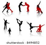 silhouettes of people on a... | Shutterstock .eps vector #8494852