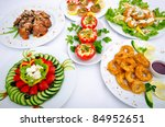 table served with tasty meals | Shutterstock . vector #84952651