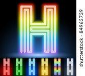 Alphabet Of Neon Tubes. Letter H