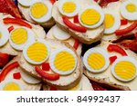 Delicious breakfast. Smiled eggs on toast. - stock photo