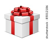 gift box with red bow isolated...   Shutterstock .eps vector #85012186