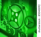 A Mechanical Background green with Gears and Cogs 3D render ( high resolution ) - stock photo