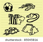doodle football set illustration