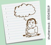 doodle sketchy man thinking... | Shutterstock .eps vector #85045819