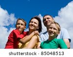 cute family on a sky background | Shutterstock . vector #85048513
