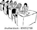 sketch of the girls in the... | Shutterstock .eps vector #85051738