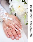 hands of the groom and the bride   Shutterstock . vector #85088653