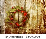 christmas wreath with natural... | Shutterstock . vector #85091905