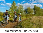 family of four cycling outdoors.... | Shutterstock . vector #85092433