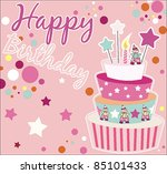 sweet birthday card with cake | Shutterstock .eps vector #85101433
