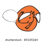 drawing of a fox with speech... | Shutterstock .eps vector #85105264
