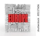 Europe. Box from name of european countries. 3d - stock photo