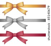 set of three leather bows on... | Shutterstock .eps vector #85140679
