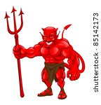 A devil cartoon character illustration standing with pitchfork - stock photo