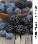 blueberries and blackberries | Shutterstock . vector #85148005