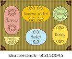 cute vintage market signs... | Shutterstock .eps vector #85150045