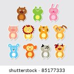 Stock vector cute animal doodle 85177333