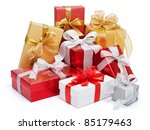 stack of presents isolated on... | Shutterstock . vector #85179463