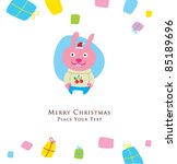 cute bunny christmas greeting | Shutterstock .eps vector #85189696