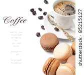 Coffee And French Macaroons In...