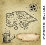 pirate map illustration | Shutterstock . vector #85234366