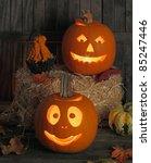 Two Smiling Jack O Lanterns At...