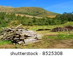 stack of dry firewood against...   Shutterstock . vector #8525308