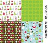 set of cute christmas seamless... | Shutterstock .eps vector #85310005