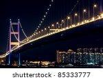 bridge at night  tsing ma bridge   Shutterstock . vector #85333777