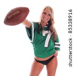 Sexy Blonde Girl With Football...
