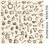 kitchen utensils  sketch... | Shutterstock .eps vector #85341700