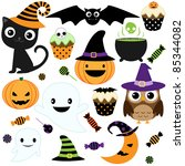 Stock vector set of cute vector halloween elements objects and icons for your design 85344082