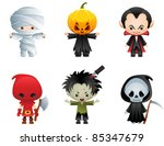 halloween characters icon set | Shutterstock .eps vector #85347679
