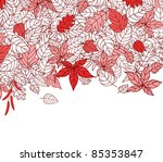 Red Autumn Leaves Silhouettes Background For Seasonal Or Thanksgiving Design. Rasterized version also available in gallery - stock vector