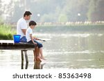 man and boy fishing on the lake | Shutterstock . vector #85363498