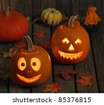 two smiling halloween jack o... | Shutterstock . vector #85376815