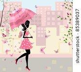 Beautiful Girl With An Umbrella ...