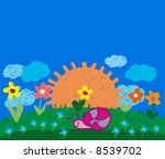 meadow   kiddie style drawing | Shutterstock . vector #8539702