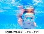 blond child girl underwater... | Shutterstock . vector #85413544