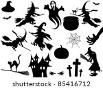 collection of vector halloween... | Shutterstock .eps vector #85416712