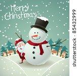 santa and snowman christmas card