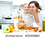 mother and daughter cooking... | Shutterstock . vector #85440880