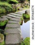 Mossy stepping stones in water - stock photo