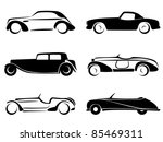 Stock vector old cars silhouettes set vector 85469311