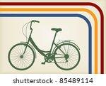 Vintage woman bike vector background - stock vector