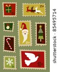 Christmas symbols and design elements postage stamps - stock photo