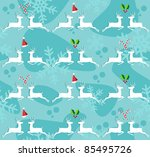 Christmas decorative elements and reindeer seamless pattern background. - stock photo