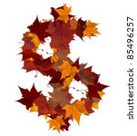 Cash symbol made with autumn leaves isolated on white background - stock photo