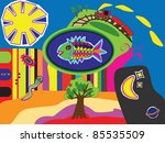 fantasy illustration containing ... | Shutterstock .eps vector #85535509