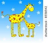 Cartoone Giraffes   Greeting...